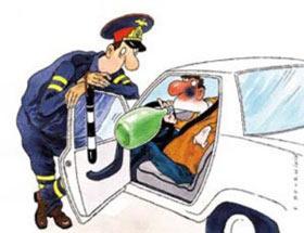 Карикатура на водителя и гаишника